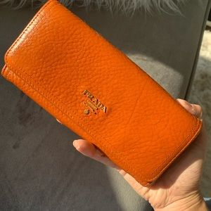Authentic Prada orange leather wallet